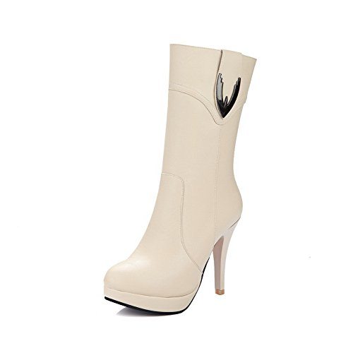 AllhqFashion Womens Round Closed Toe Spikes Stilettos Soft Material Mid Top Solid Boots, Beige, 41
