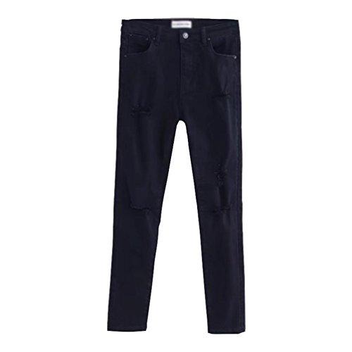 WanYang Femmes Skinny Denim Jeans Dchirs Trous Genoux Pantalon Stretch Slim Crayon Jeans Jeggings Collants Noir