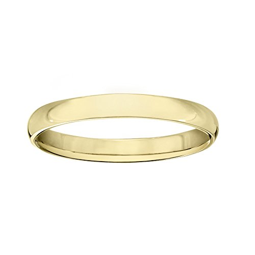 PORI JEWELERS 14K Solid Gold Wedding Band Ring - 2.3mm, 2.5mm, 3mm, 4mm, 5mm (3mm, Yellow, 5) ()