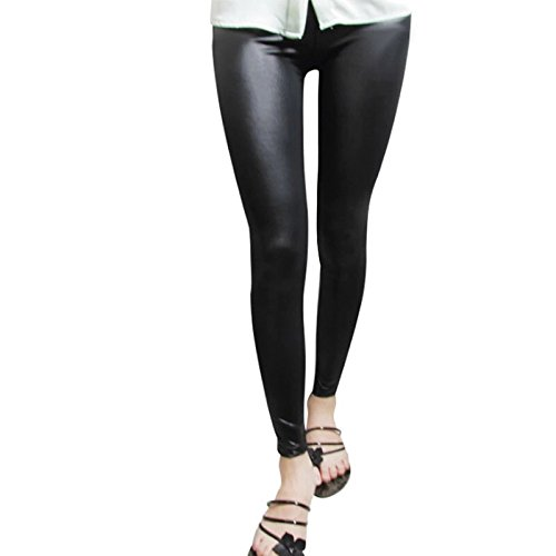 NEW!! Black Women Leggings Faux Leather Slim Leggings New Fashion Plus Size Elasticity Sexy Pants (L)
