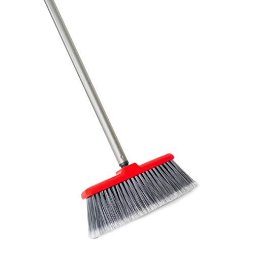 Fuller Brush Fiesta Red Kitchen Broom - Heavy Duty Floor Sweeper w/Extendable Steel Handle & Fine Long Bristles - Dust Sweeping For Home/Commercial Kitchen & Warehouse Floors