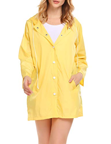GUANYY Women's Waterproof Raincoat Hooded Waterproof Active Outdoor Rain Jacket (Yellow2,Large)