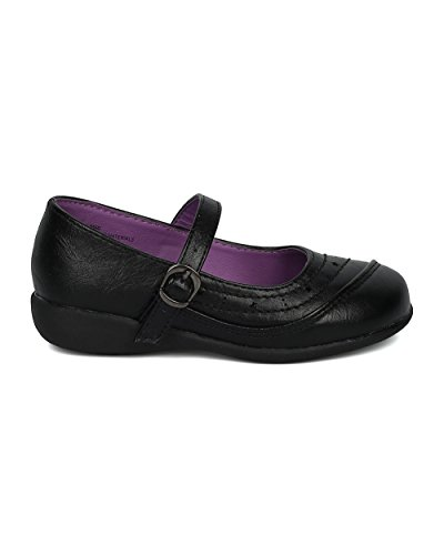 Girls Mary Jane Uniform Shoe (Toddler/Little/Big Girl) - Mini Stars Walker - Cushioned Everyday School Church - HD36 by School Rider Collection Black Leatherette pEq8WdiP