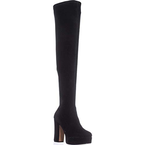 Avec Les Filles Womens Linnea Closed Toe Knee High, Black Velvet, Size 8.5
