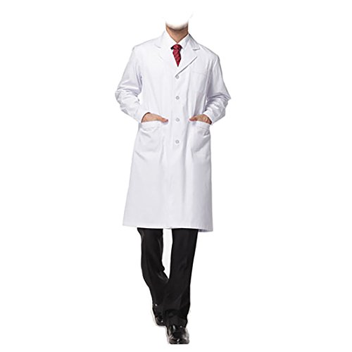 Halloween Homemade Cool Invitations (WDF lab coat medical coat work uniforms men long sleeve long paragraph button)