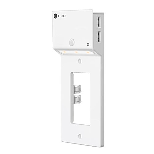 (Criacr Decor Outlet Wall Plate,Home Electric Outlet Cover with Auto-On LED Night Light, Dual USB Smart Charger with Charging Holder, Replacement Receptacle Faceplate Decorator Cover Wallplate, White)