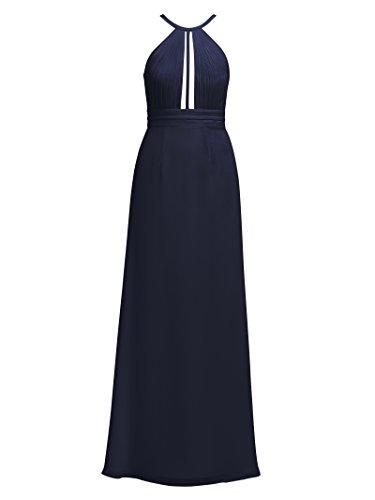 Halter Alicepub Formale Pieghe Del Evento Dress Lungo Da Partito Maxi Chiffon Navy Vestito Dark Da A Sera Tffq5Hw