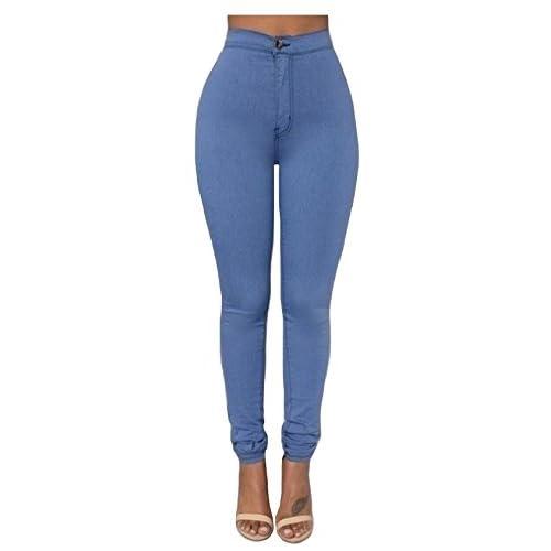 Legou Femme Collant Slim Legging Basique Taille haute Bleu X-Small