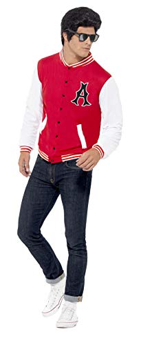 Smiffys Men's 50's College Jock Letterman Jacket, Rockin' 50's, Serious Fun, Size M, -