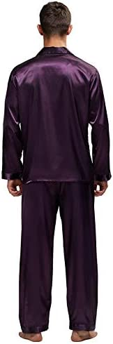 パジャマ CHJMJP メンズステインシルクパジャマセットの男性パジャマシルクパジャマ男性のセクシーなモダンなスタイルのソフトコージーサテンナイトガウン (Color : パープル, Size : XL)
