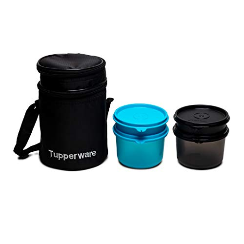 Tupperware Executive Lunch Box Set  Blue Black