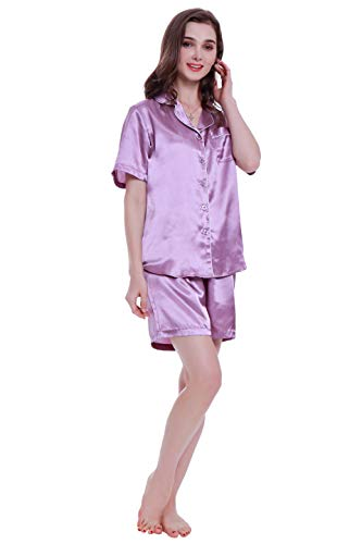 Lavenderi Women's Short Sleeve Classical Silky Satin Pajamas, Short Bottom Sleepwear (Medium, Light Purple) (Print Silk Pajama)