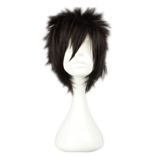 Spiky Wig (COSPLAZA Cosplay Wig Short Rock Spiky Straight Dark Black Heat Resistant Synthetic Hair 30cm Anime Hair)