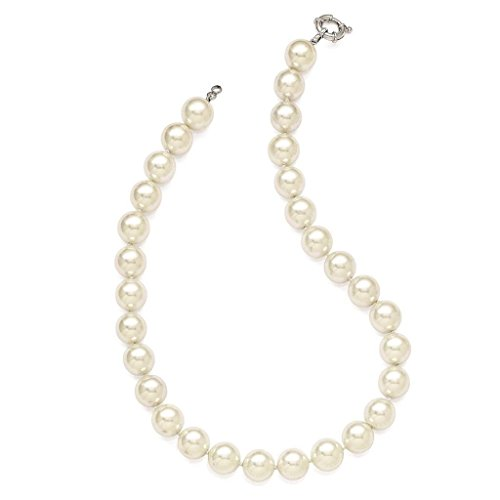 925 Sterling Silver 14-15mm White Simulated-pearl Hand Knotted Necklace 18