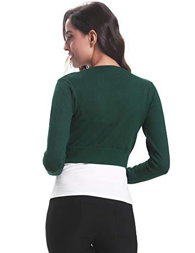 Vintage scuro da verde maniche Cardigan elegante corta donna abito bolero per classica sera Cardigan Bottone Maglia Giacca lunghe Chic 1T6aUx