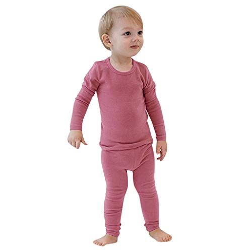 Sunhusing Adorable Boys Girls Solid Color Long Sleeve Tops+Pants Home Pajamas Toddler Baby Sleepwear Outfit (3-4T, Pink)