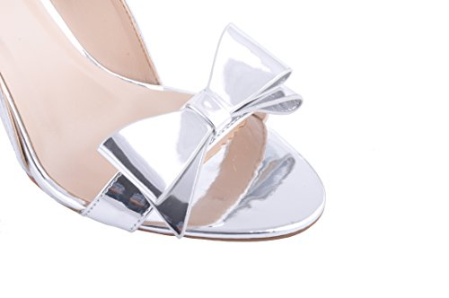 Argent Brillant Metallique Arc Detalle ...Sandales Talon Hauts Chaussures de Mariage