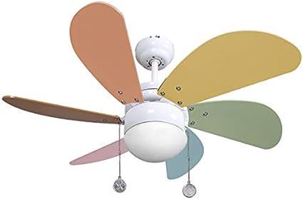 003 Ventilador de techo con luz colores pastel, 1xE27, 77 cm., AkunaDecor.