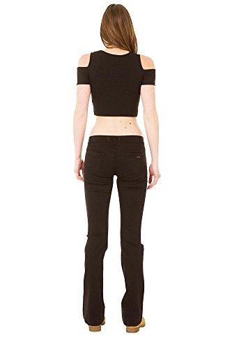 Flare para Mujer Estilo Jeans Vaqueros Bootcut Baja Cintura de Negro 8xwfIHqU