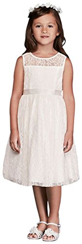 Girls Bridal Davids Flower - David's Bridal Sleeveless Knee Length Flower Girl/Communion Dress Style OP226, Soft White, 7