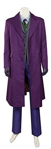 [Mtxc Men's Batman:The Dark Knight Rises Cosplay Costume Joker Full Set Size Large Purple] (Joker Dark Knight Rises Costume)
