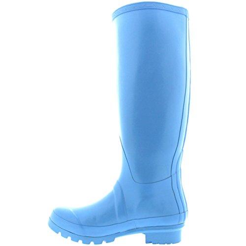Womens Original Hochglanz Winter Wasserdichte Gummistiefel Regen Gummistiefel Hellblau