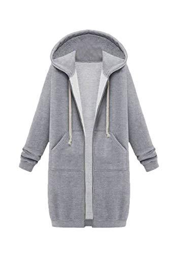Pieno Cordoncino Giacca Zip Incappucciati Donne Le Grey Casuale Sweatershirts Jumojufol wpqaxAvFX