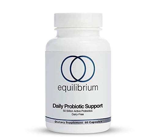 Daily Nutrition - Equilibrium Nutrition Daily Probiotic Support, Dairy Free, High-Potency, Natural,50 Billion Live Probiotics Strain, Helps Improve Digestion, Metabolism & Energy. for Children and Adults. 60 Capsules.