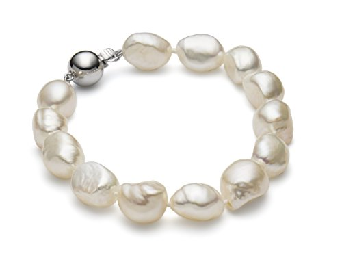 HinsonGayle AAA Handpicked 10-11mm White Baroque Freshwater Cultured Pearl Bracelet (Sterling Silver)-7.5 in length