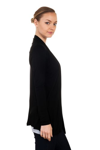 Cordiu Women's Rayon Jersey Drape Cardigan -Black-Medium