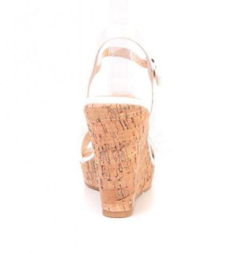 Damen Riemchen Mary Jane Keil Pumps Keilabsatz Sandaletten Spangenpumps Plateau High Heels Wedges 54 Weiß