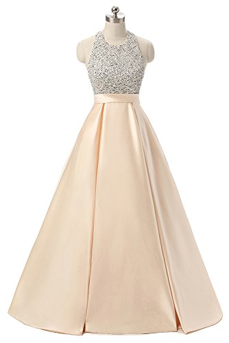 Andybridal Prom Dress Halter Beaded Sequins Backless Evening Dresses Champagne 14 Sequins Halter Prom Formal Dress