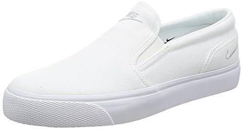 Nike Women's Toki Slip Canvas White/Mtlc Platinum Casual Shoe 8.5 Women (Nike Slip)