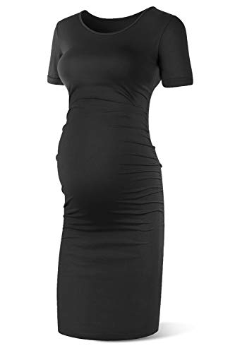 SUNNYBUY Women's Short Sleeve Maternity Dresses Casual Summer Pregnancy Work Clothes Ruched Fitted Maternity Bodycon Dress Black