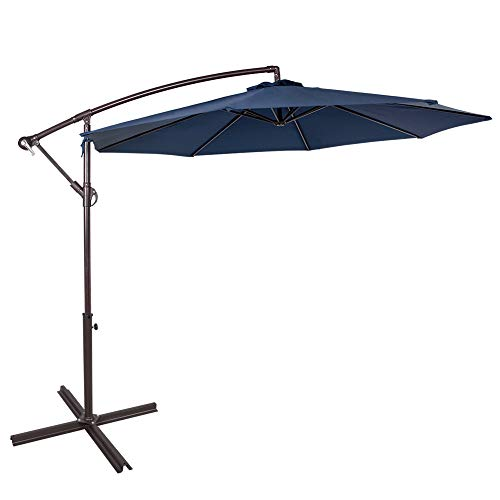 Sundale Outdoor 10 Feet Aluminum Offset Patio Umbrella with Crank and Cross Bar Set, Cantilever Umbrella for Deck, Garden, Backyard, 8 Steel Ribs, 100% Polyester Canopy Shade (Navy Blue)