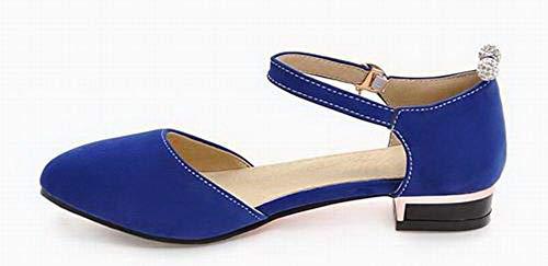 à AgooLar Couleur GMBLB015703 Sandales Dépolissement Talon Femme Unie Bas Boucle Bleu t4wT4
