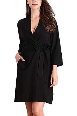 Memory baby Women's Cotton Robe Soft V Neck 3/4 Sleeves Lounge Bathrobe S-XXL
