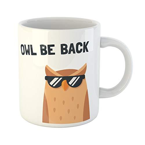 Semtomn Funny Coffee Mug Funny Cartoon Owl Sunglasses