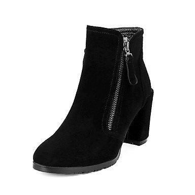 Boots Boots RTRY Booties US8 Ankle UK6 EU39 CN39 Chunky Zipper Shoes Almond Dress Toe Fashion Casual Leather For Real Heel Boots Round Women's Winter Bootie qqxCYZO