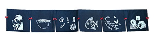 Blue Sushi Noren Curtain Japanese Restaurant Bar Tapestry Sign - 08b