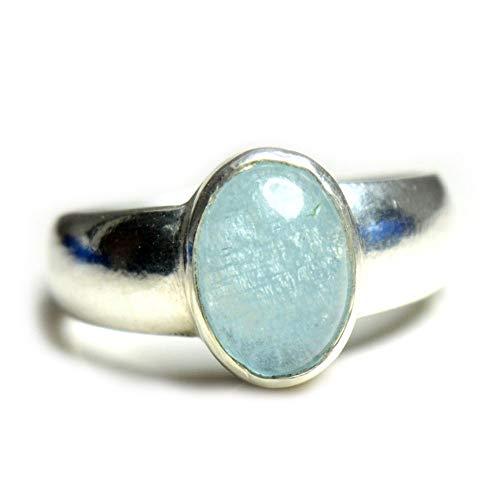 55Carat Natural Aquamarine Silver Ring for Men 3 Carat Oval Birthstone Size 4,5,6,7,8,9,10,11,12,13