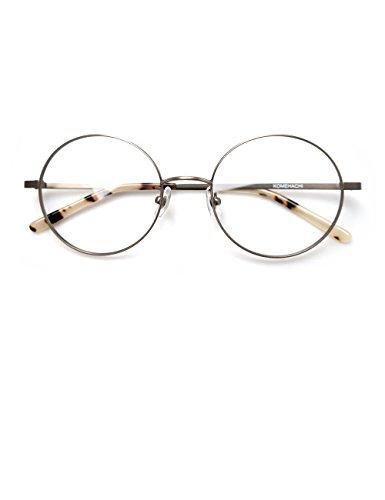 Komehachi - Large Round Slim Light-Weight Metal Unisex Women Prescription Eyeglasses Frames Clear Lens Glasses - Prescription Extra Eyeglasses Large