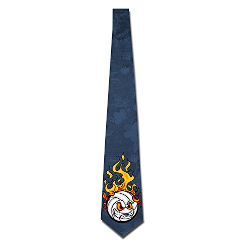 HOTOU Personalized Men's Burning Volleyball Illustration Fashion Tie Skinny - Store Ti Clothing