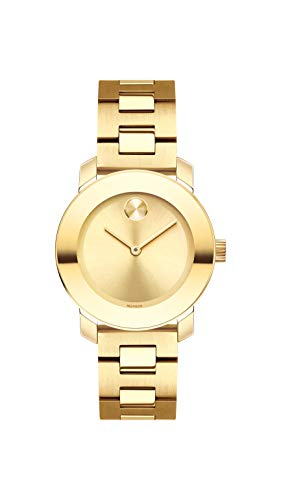 Women's Bold Iconic Metal Yellow Gold Watch with Flat Dot Sunray Dial, Gold/ (Model ) - Movado 3600434