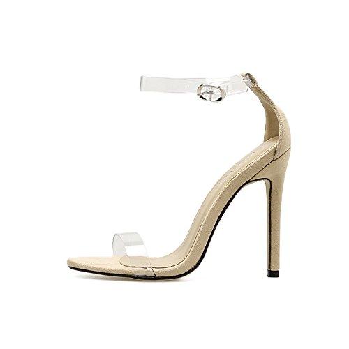 YMFIE Nueva moda verano estilo europeo simple transparente dedos sandalias de tacón alto y sexy zapatos de tacón alto,40 UE,b 40 EU