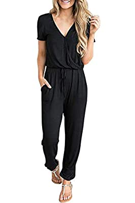 Fixmatti Women Short Sleeve V Neck Elastic Waist Pockets Casual Romper Jumpsuit