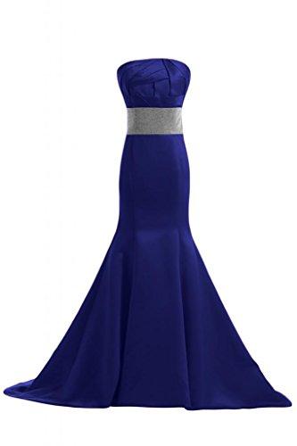 sera elegante abito satinato sirena da senza spalline Sunvary lungo abito Blu fnItwSRRq
