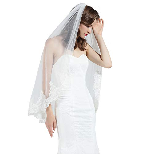 Wedding Bridal Veil with Comb 1 Tier Half Lace Applique Edge Fingertip Length 36