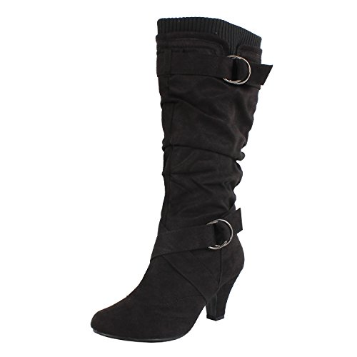 Suede Mid Calf Boots - 5
