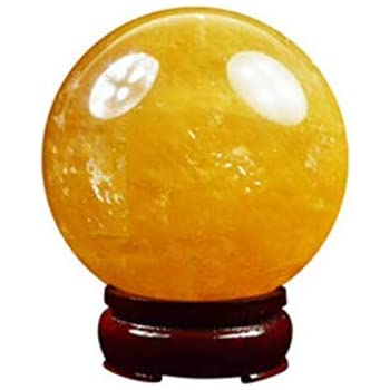 4cm Natural Citrine Calcite Quartz Crystal Sphere Citrine Ball Healing Gemstone +Wooden Stand